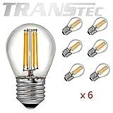 TRANSTEC® 6x Vintage LED Filament Glühbirne Golfball G45–LED Leuchtmittel, klar warmweiß 2700K, LED Edison Glühbirne, nicht dimmbar [Energieklasse A + +], 6W, e27, 6.0 wattsW