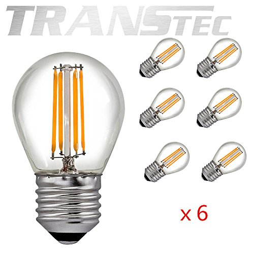 TRANSTEC 6X Ampoule LED Filament Mini Golf Rétro Style G45 - 2W LED E27 Base, Transparent Blanc Chaud 2700K, LED Edison Ampoule Non-dimmable