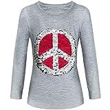 BEZLIT Mädchen Langarmshirt Wende Pailletten Sweatshirt Bluse Lang 21511, Farbe:Grau, Größe:152
