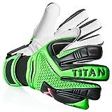 T1TAN Rebel Torwarthandschuhe ohne Fingerschutz/Tormannhandschuhe mit 4mm Gecko Grip/Fußballhandschuhe mit Innennaht/Neopren/Black & Green/Größe 10