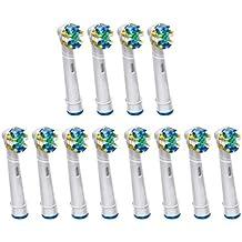 KongKay® 12 PCS EB25/EB-25A Floss Action la cabeza de cepillo de dientes reemplazadas compatible para Braun Oral-B Cepillo de dientes eléctrico, compatibles con Professional Floss Action, los siguientes modelos de cepillos de dientes eléctricos Oral-B: Floss Action, Vitality Precision Clean, Vitality Floss Action, Professional Care, Vitality Sensitive, Vitality Pro White, Vitality Dual Clean, Vitality White and Clean, Triumph, Advance Power, TriZone y Smart Series. (3PACK x 4PCS)