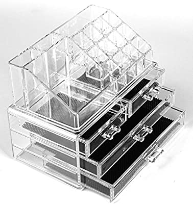 Cosmetic Make Up Clear Acrylic Organiser 20 Sections with Drawers