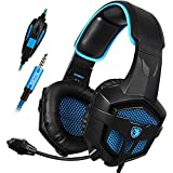 Gaming Headset SADES SA807 for PS4 New Xbox One Gaming Headphone Over Ear 3.5mm Plug Wired with Mic Volume Control for PC Laptop Mac Phone (Black&Blue)