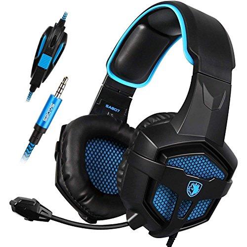 Gaming Headset SADES SA807 für PS4 neue Xbox One über Ohr Kopfhörer 3,5 mm verdrahtet mit Mic Lautstärkeregler für PC Laptop Mac Phone (schwarz & blau) (Gaming-headset Und Maus)