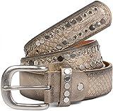 styleBREAKER Gürtel mit flachen Nieten und Strass, Schlangenleder Optik, Ziernaht, Vintage Style, kürzbar, Damen 03010064, Farbe:Antik-Gold;Größe:90cm