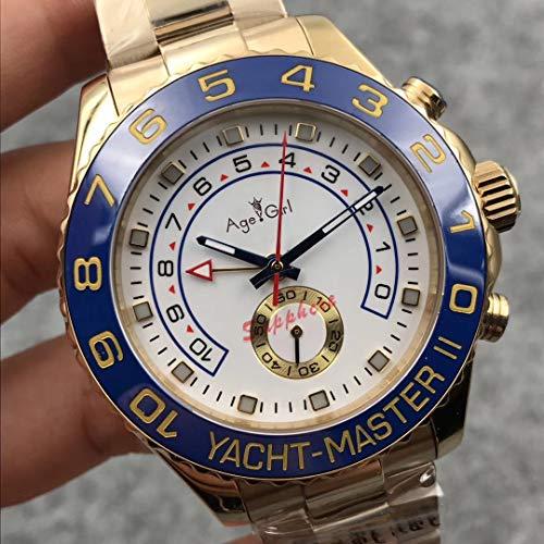 ZCCZJBXS Luxury Men Watch Automatic Mechanical Blue Ceramic Bezel Stainless Steel Sapphire Yacht Yellow Gold Limited Sport White