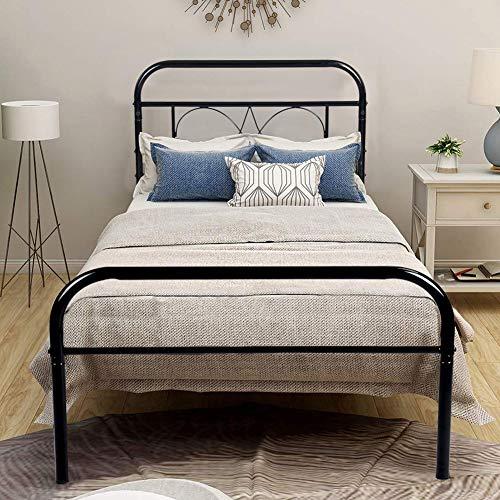 Aingoo lit Simple en métal Cadre de Lit avec la Structure Pleine et Les lamelles pour des Enfants et des Adultes, 90 * 190 (cm), Noir