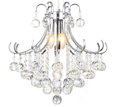 Klassischer Glas Kristall Kronleuchter Deckenleuchte Deckenlampe Hängelampe Hängeleuchte Lampe Licht 45cm Leuchte Wohnzimmer Lewima Aris 3x E14