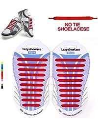 Cordones Elásticos sin corbata Cordones de zapatos para niños y adultos Impermeables cordones de zapatos de atletismo atlética de silicona elástico plano con multicolor de los zapatos del tablero Sne