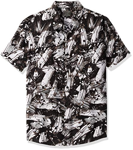 Guess Herren Short Sleeve Brush Stroke Print T-Shirt, Black, X-Groß - Woven Long Sleeve Button