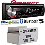 BMW 3er E36 - Pioneer DEH-3900BT - Bluetooth | CD | MP3 | USB | Android - iPhone Autoradio - Einbauset