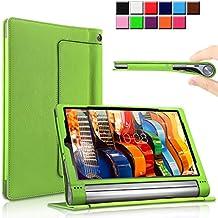 Yoga Tab 3 Pro/Yoga Tab 3 Plus 10 Funda Case, Infiland Folio PU Cuero Cascara Delgada con Soporte para Lenovo Yoga Tab 3 10 Pro / Yoga Tab 3 Plus 10.1 inch Tablet, Verde
