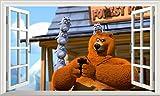 Chicbanners Grizzy und die Lemminge Fenster 3D 6Selbstklebend Magic Wandtattoo Fenster Poster Wall Art Größe 1000mm Breit x 600mm Tief (groß)