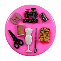 Sewing Scissors Mannequin Thimble Mothers Day Silicone Mould Mold for Cake Decorating Cake Cupcake Toppers Icing Sugarcraft Tool by Fairie Blessings