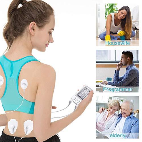 Airser Tens Gerät Schmerztherapie, Digitaler Therapie-muskelstimulator, Wiederaufladbares Pulsmassagegerät Mit Zwei Ausgängen Und Großem LCD-Bildschirm, EMS-zehnermassagegerät
