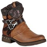 Leicht Gefütterte Damen Stiefel Biker Boots Schnallen Stiefeletten Schuhe 147600 Hellbraun 36 Flandell