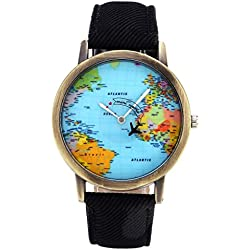 JSDDE Fashion Airplane World Map Watch With Retro Bronze Case Black Canvas Veins PU Leather Band