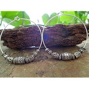 ✿ TIBET-SILBER BOHO TRIBAL CREOLEN ✿ Ohrringe im Bali Stil