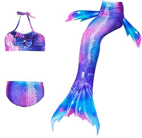 ShiyiUP 3 Teilge Badeanzug Mädchen Meerjungfrau Bademode Schwimmanzug Sommer Kinder Schwanz Kleid Bikini Kinder-sommer-kleid