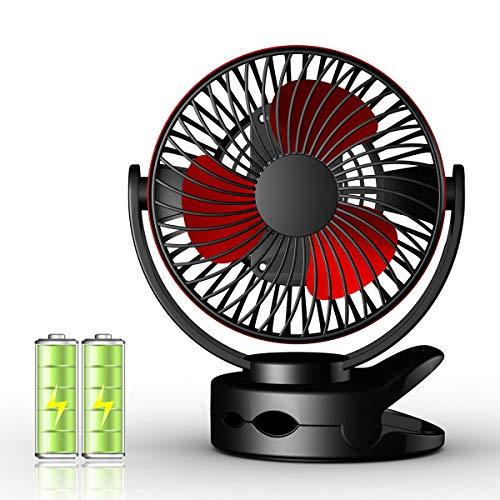 Mini Ventilateur USB Rechargeable, Ventilateur Bureau Silencieux avec Vitesse du Vent sur Quatre Niveaux, Rotation sur 360 °, Câble USB, Temps de Travail: 4-13 Heures, pour Table PC, Lieu de Travail