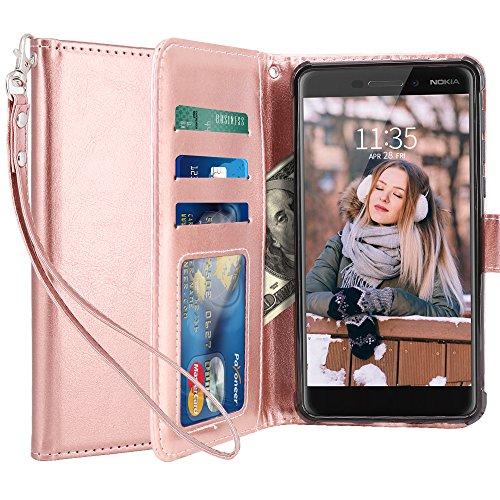 LK Nokia 6.1 / Nokia 6 2018 Funda, Carcasa Cubierta Cuero Billetera Case Flip Cover con Ranuras de Tarjeta - Oro Rosa