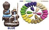 #5: Buddha Smoke Fountain |Buddha Incense Burner | Meditating Monk Buddha Smoke Backflow Cone Incense Holder Decorative Showpiece |Buddha Idol | Buddha Fountain |Buddha Statue With Free 30 Backflow Incense Cones And 3 Cactus shape Candles for Home Decoration.