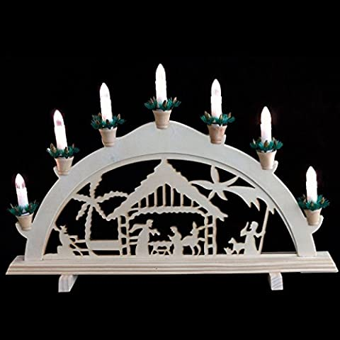 LED Kerzenbrücke mit Weihnachtsszene 7 warmweiße LED-Lichter batteriebetrieben , Holz Kerzenbogen Lichtbogen Weihnachtliche Tischdeko Adventdeko Weihnachtsdekoration