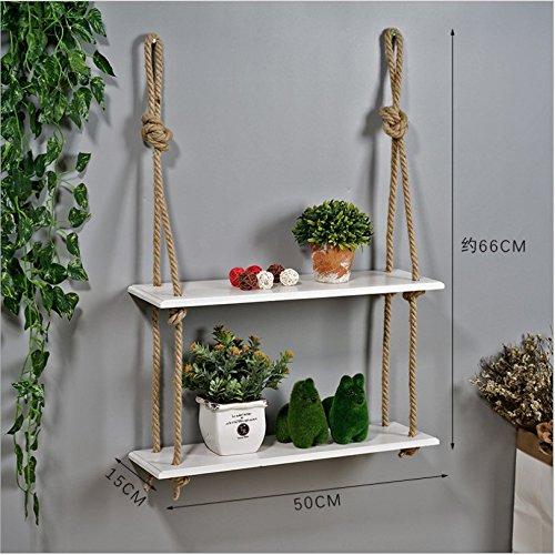 Goodchanceuk - scaffale sospeso in legno, retrò, robusti ripiani, da appendere a parete, decorazione in corda, mensola per piante, libri, ornamento white 2 layer