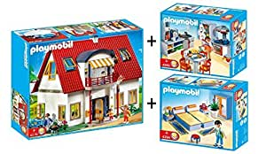 Playmobil 4279 maison moderne 4283 4284 chambre cuisine for Maison moderne high tech