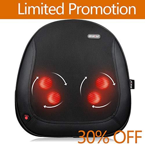 CINCOM Auto Massagegerät, Shiatsu Massagekissen Rückenmassagegerät mit Wärmefunktion für Oberer Untere Rücken Taille Schmerzlinderung im Auto Büro Zuhause (mit Autoladegerät)