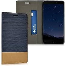 kwmobile Funda para Elephone P9000 - Case con tapa cover de tela con cuero sintético - Carcasa plegable azul oscuro marrón
