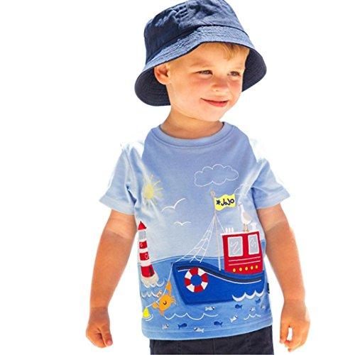 Amlaiworld frühling sommer baby Gemütlich sport t-shirt Mädchen jungen bunt muster druck locker blusen niedlich Kleinkind oberteile süße Meer Schiff Baumwolle tops, 0-6 Jahren (6 Jahren, C)
