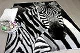 Designer Teppich Carat Zebra Schwarz Grau in 2 Größen