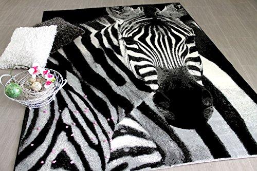 Carat Designer Teppich Zebra Schwarz Grau in 2 Größen
