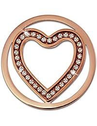 Adamello acero inoxidable pieza de corazón oro rosa blancos de acero joyas ESC525EW