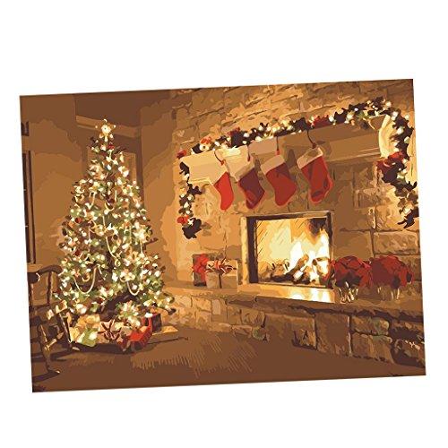 MagiDeal Sich Malen Wandbilder für Wohnzimmer Schlafzimmer, DIY Leinwandbilder Deko - Weihnachtsbaum Kamin