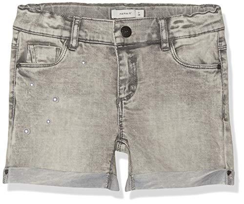 NAME IT Mädchen NKFPOLLY DNMBAMETH 4176 Shorts, Grau (Light Grey Denim), (Herstellergröße: 134) - Mädchen Jeansshorts