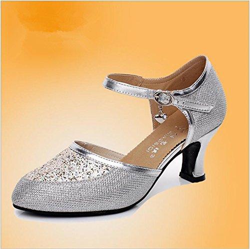 SQIAO-X- Square Dance Scarpe _, Danza Moderna Scarpe Amicizia Scarpa Danza Adulto Square Dance Colla Scarpa A Duplice Uso 208 Argento (colla )(5cm)