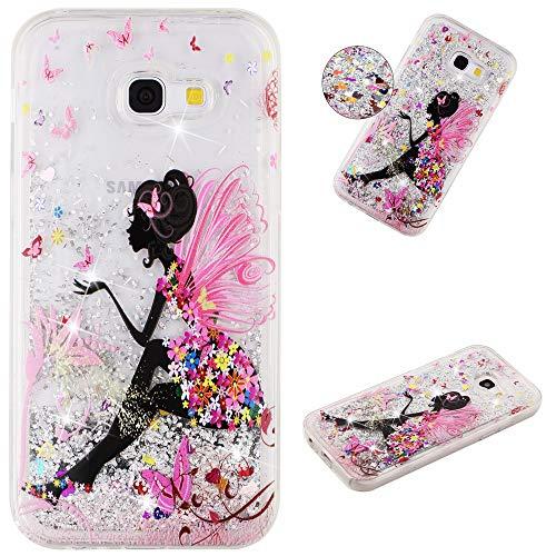Miagon Flüssig Hülle für Samsung Galaxy A5 2017,Glitzer Weich Treibsand Handyhülle Glitter Quicksand Silikon TPU Bumper Schutzhülle Case Cover-Schmetterling Mädchen -