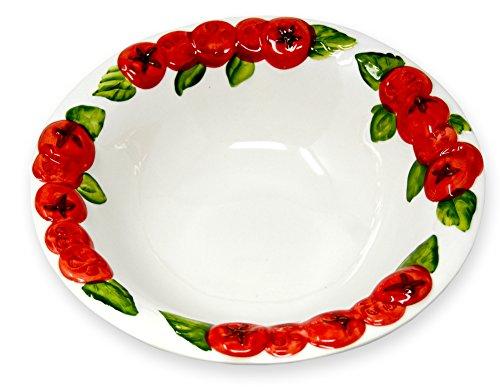 Lashuma handgemachte Salatschale aus Italienischer Keramik, Schüssel im Tomaten Design, runde Servierschüssel 27 cm, Tief 6 cm (Keramik Pasta-schalen Italienische)