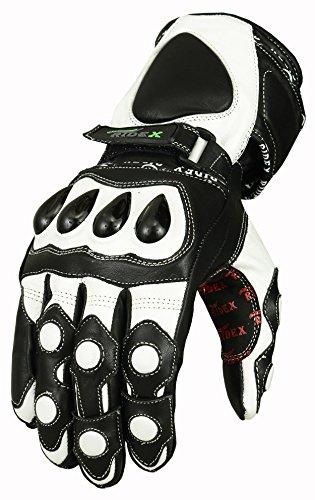 Protezione nocche RIDEX Guanti moto in pelle bianco & Nero