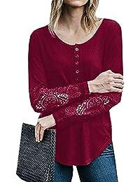 Bluse Damen Pullover Lange Hülsen Oberteile Festliche Bluseshirt,ABsoar  Spitze Langarmshirt Patchwork Knopf Lose Shirts 98061c56cb