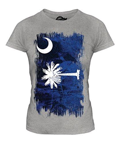Candymix Bundesstaat South Carolina Grunge Flagge Damen T Shirt, Größe X-Small, Farbe Grau Meliert - Carolina Flagge T-shirt