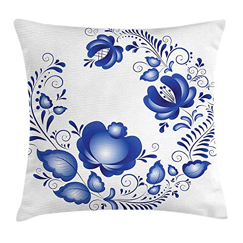CHSUNHEY Kopfkissenbezüge,Blue Floral Ornamental Blossoms with Swirls Traditional Russian Gzhel Motif,Home Decorative Square for Sofa Throw Pillow Case 18