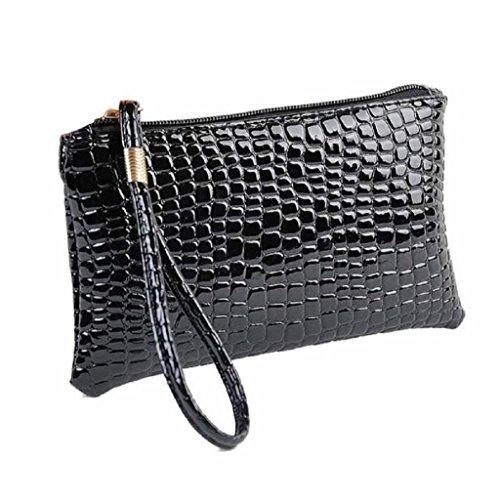 Longra Damen-Geldbörsen Krokodil PU Leder Clutch Handtasche Tasche Geldbörse portemonnaie (Black)