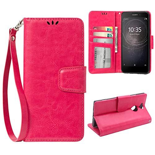 Billetera Funda para Sony Xperia XA2, 3 Titular de la Tarjeta con Estar de pie Funcion Cuero Magnetico Carcasa de Telefono Protectora para Sony Xperia XA2, Rosa Rojo