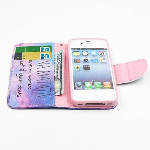 MOONCASE Coque en Cuir Portefeuille Housse de Protection Étui à rabat Case pour Apple iPhone 4 4S BF03