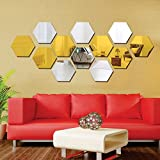 #8: Wall1ders - Hexagon 6 Silver and 6 golden (pack of 12) 3D Wall Décor 3D Acrylic Mirror 3D Mirror wall stickers 3D Aacrylic wal stickers for home & offices.