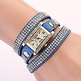 Schöne Uhren, Damenuhr rechteckige Zifferblatt Diamond Strass Band ( Farbe : Blau , Großauswahl : Einheitsgröße )