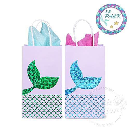 tüten Partytüten Geschenkbeutel Kraftpapiertüten Meerjungfrau Muster mit Henkel für Kindergeburtstag Hochzeit Party Feier ca. 20 x 11 x 8 cm ( 12 Stück ) (Blau+Grün Set) ()
